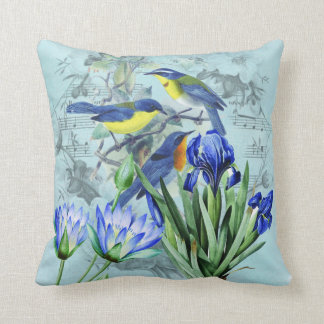 Vintage Floral Songbirds Apparel and Gifts Throw Pillow