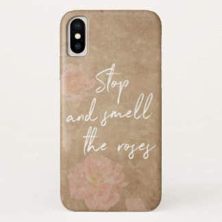 Vintage Floral Stop and Smell the Roses Typography Case-Mate iPhone Case