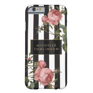 Vintage Floral Striped Personalized iPhone Case