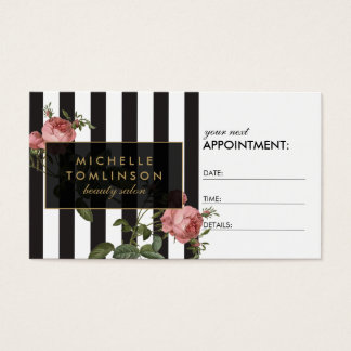 Vintage Floral Striped Salon Appointment Card