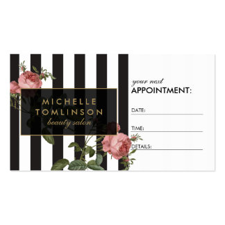 Vintage Floral Striped Salon Appointment Card Business Card