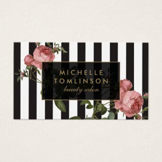 Vintage Floral Striped Salon Business Card