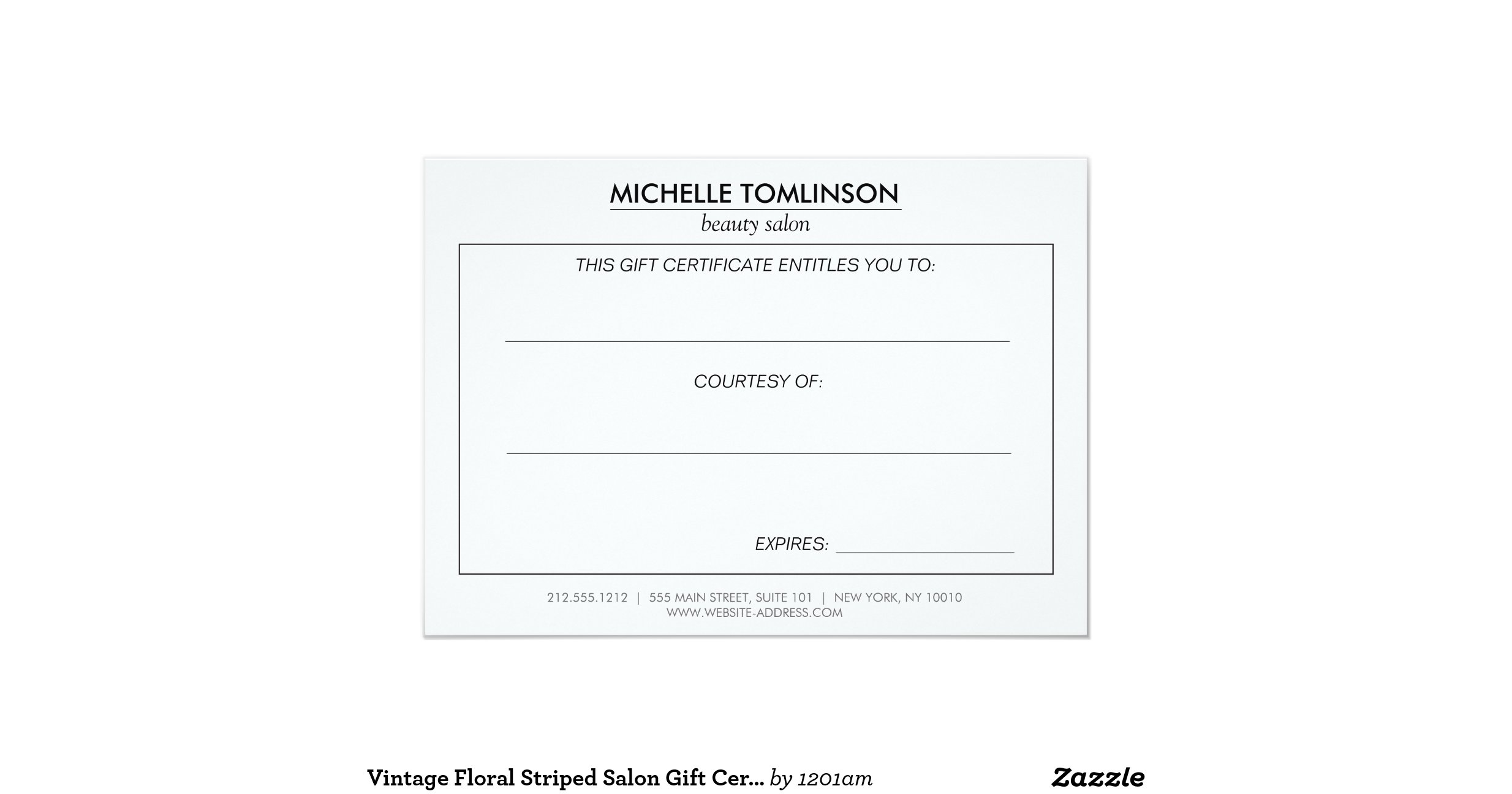 Vintage floral striped salon gift certificate 4 5 x for X salon mulund rate card