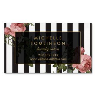 Vintage Floral Striped Salon Magnetic Magnetic Business Card