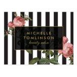 Vintage Floral Striped Salon Postcard