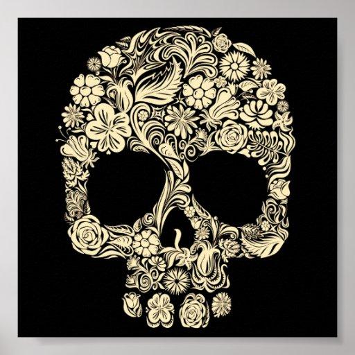 Vintage Floral Sugar Skull Poster