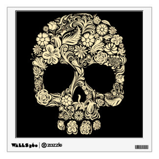 Vintage Floral Sugar Skull Room Decal
