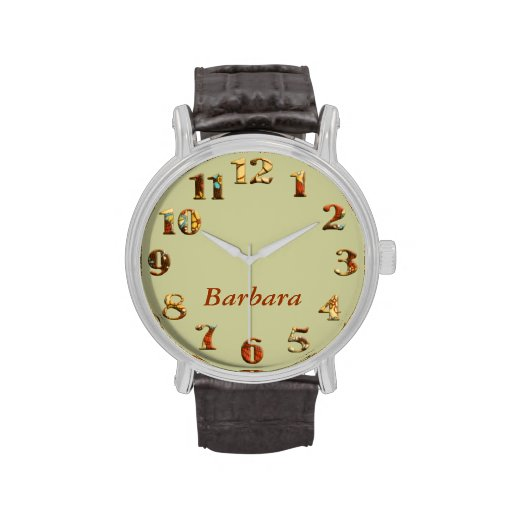 Vintage floral textile big numbers with name wristwatches