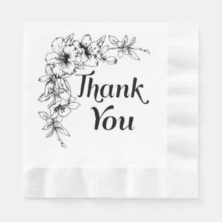 Vintage Floral Thank You Black & White Flower Disposable Napkin