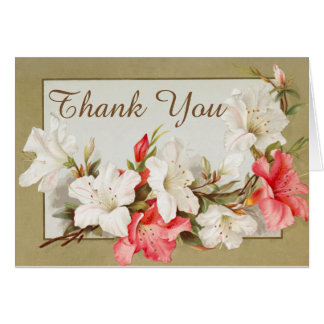 Vintage Floral Thank You Card with Lilies