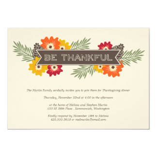 Vintage Floral Thanksgiving Invitation