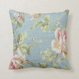 Vintage Floral Throw Pillow-Pink Flowers on Blue Throw Pillow