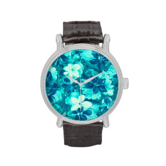 Vintage Floral Turquoise Teal Peacock Violets Watches