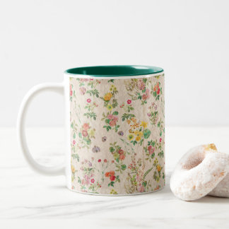 Vintage Floral Two-Tone Coffee Mug