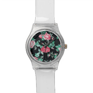 Vintage,floral,victorian,black,red,shabby chic watches
