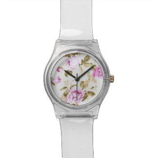 Vintage,floral,victorian,lavender,white,shabby chi wrist watch