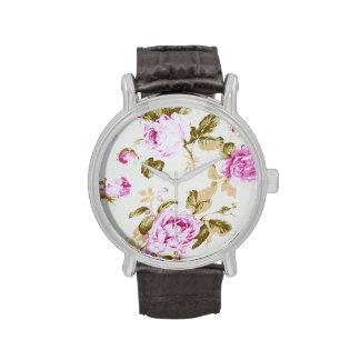 Vintage,floral,victorian,lavender,white,shabby Wrist Watches