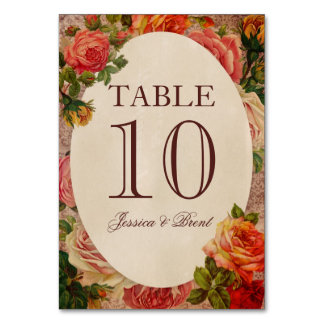 Vintage Floral Victorian Roses Table Number Card