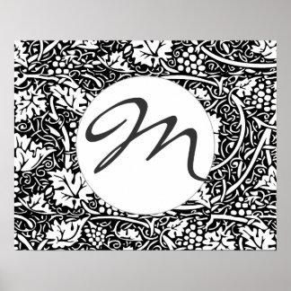 Vintage Floral Wallpaper Grape Pattern Monogram Poster