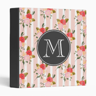 Vintage Floral Wallpaper Monogram Binder