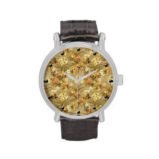 Vintage floral wallpaper pattern wrist watch