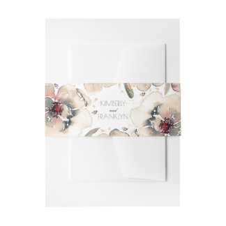 Vintage Floral Watercolor Ivory Grey and Blush Invitation Belly Band