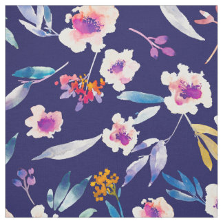 Vintage Floral Watercolor Navy Blue Pink Fabric