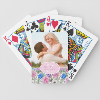 Vintage Floral Watercolor | Peony - Wedding Photo Bicycle Playing Cards