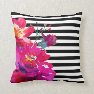 Vintage Floral Watercolor Striped Throw Pillow