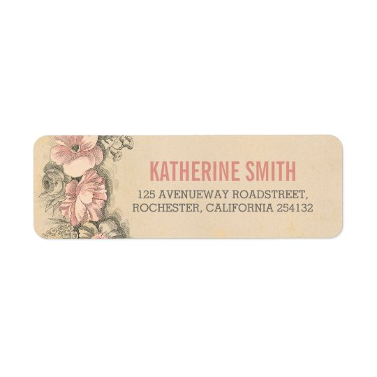Vintage Floral Wedding Address Labels