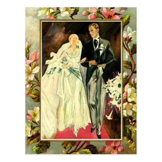 Vintage floral wedding couple template postcard