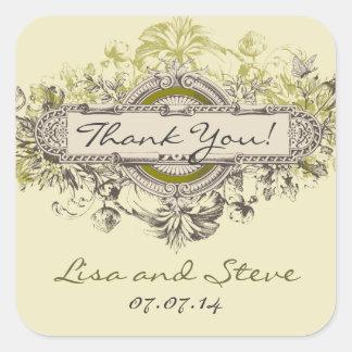 Vintage Floral Wedding Favor Thank You Sticker