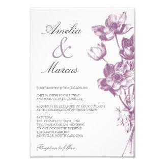 Vintage Floral Wedding Mini Invitation / White
