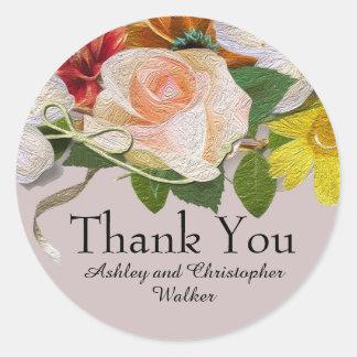 Vintage Floral  Wedding / Shower Thank You Sticker