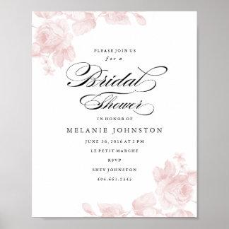 Vintage floral wedding signage poster