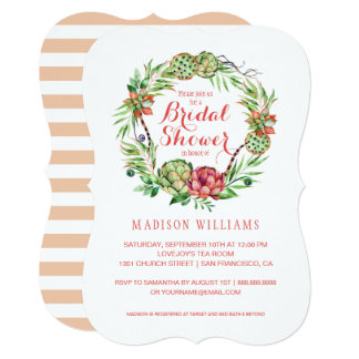 Vintage Floral Wedding Succulent | Bridal Shower Card