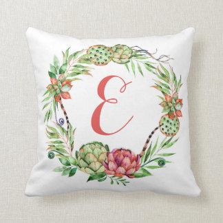 Vintage Floral Wedding Succulent | Monogram Throw Pillow