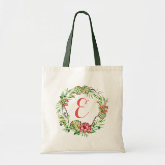Vintage Floral Wedding Succulent | Monogram Tote Bag