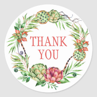 Vintage Floral Wedding Succulent | Thank You Classic Round Sticker