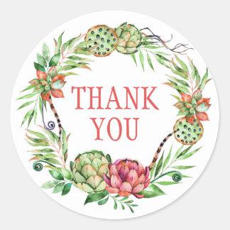 Vintage Floral Wedding Succulent | Thank You Round Sticker
