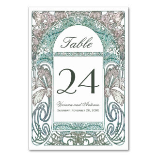 Vintage Floral Wedding Table Numbers IV (V.1) Table Card