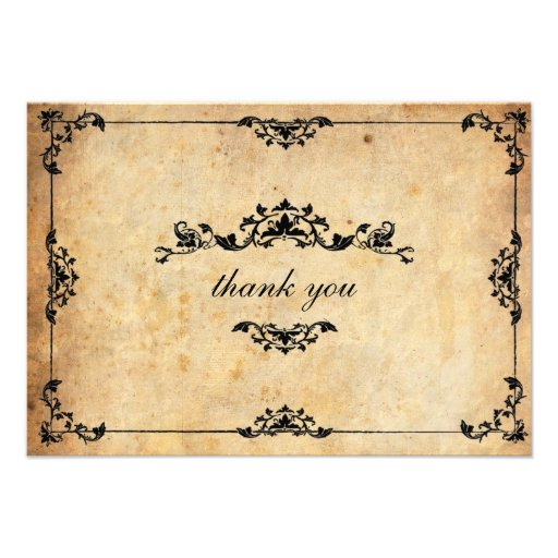 Vintage Floral Wedding Thank You Card Invites