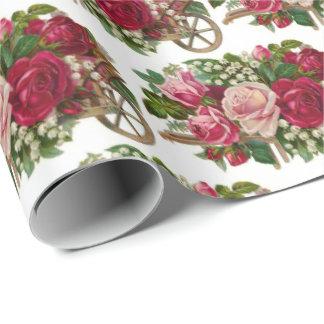 Vintage floral wheel barrel party wrap wrapping paper