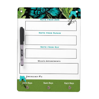 Vintage Floral White Board for Notes and Keys Dry Erase Whiteboards