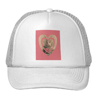 Vintage Floral White Dove With Note In Heart Trucker Hat