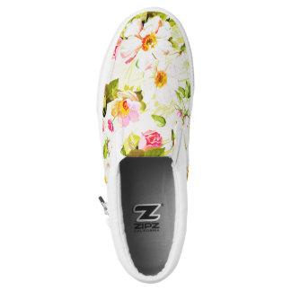 Vintage Floral Wild Roses Peonies Slip Shoes