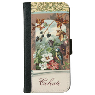 Vintage Floral with Blue Bird iPhone 6 Wallet Case
