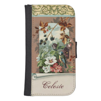 Vintage Floral with Blue Bird Galaxy S4 Wallet Cases