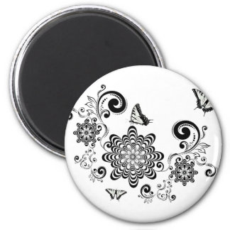 Vintage Floral with Butterflies 2 2 Inch Round Magnet