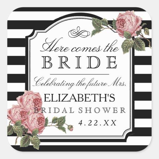 Vintage Floral With Stripes Bridal Shower Favour Square Sticker